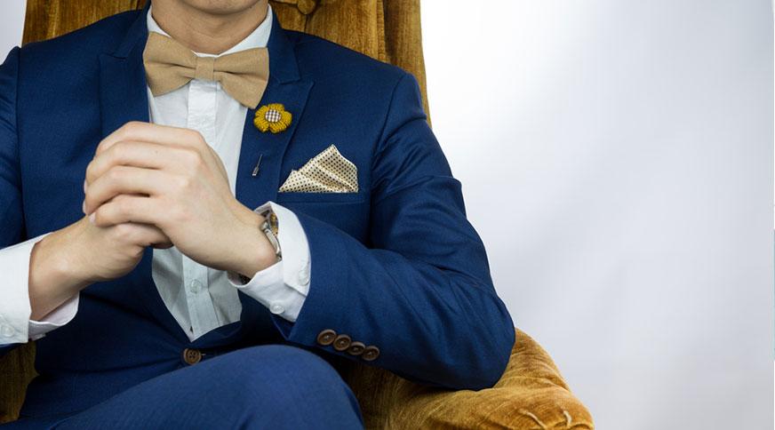 ست پاپیون و دستمال جیب مردانه