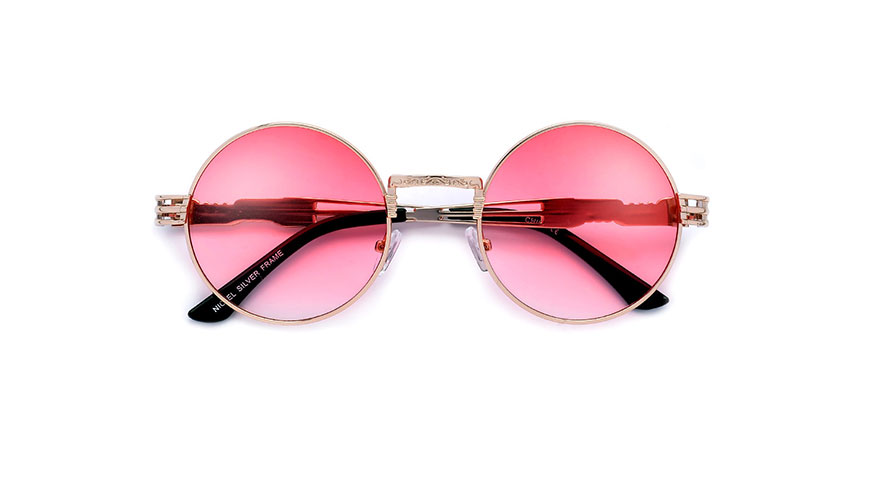 مدل عینک آفتابی گرد با شیشه صورتی