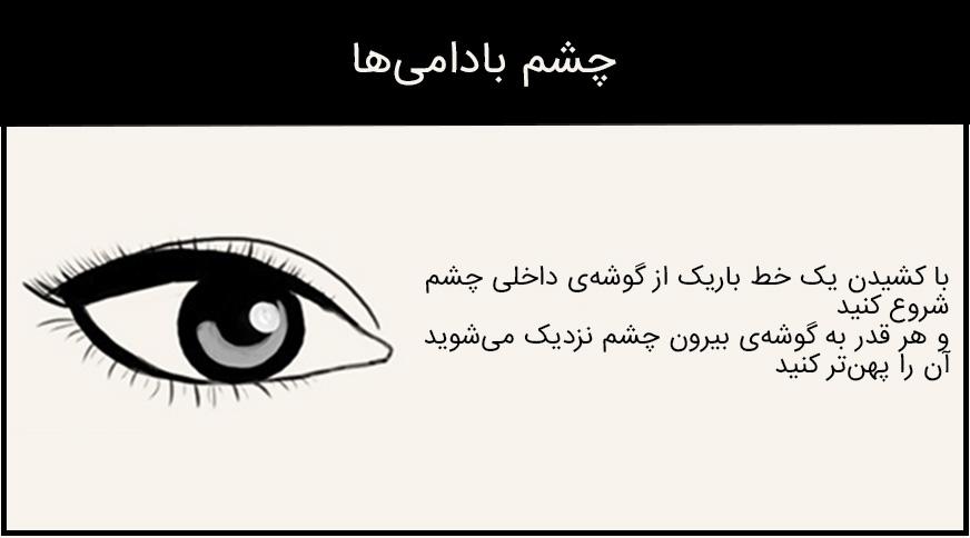 مدل خط چشم برای چشم بادامی