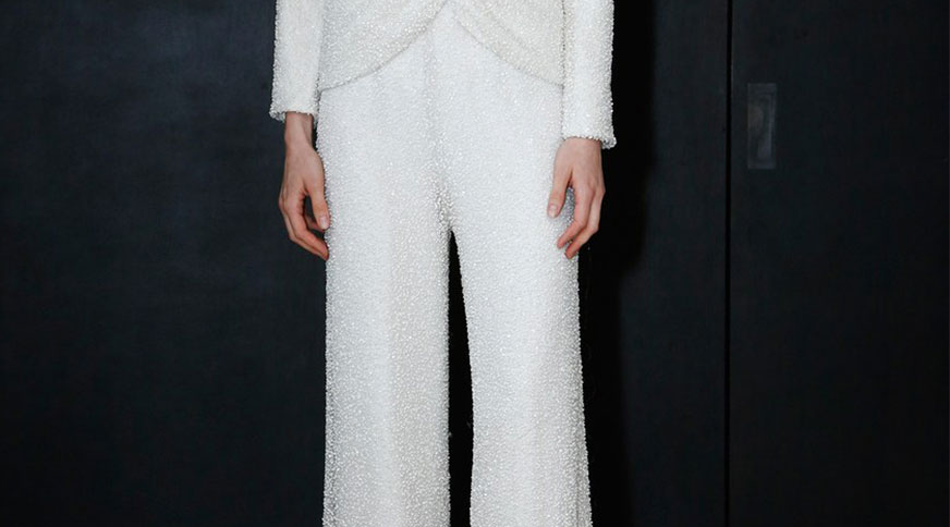 bride wearing trousers - مدل لباس عروس های امسال را بشناسید