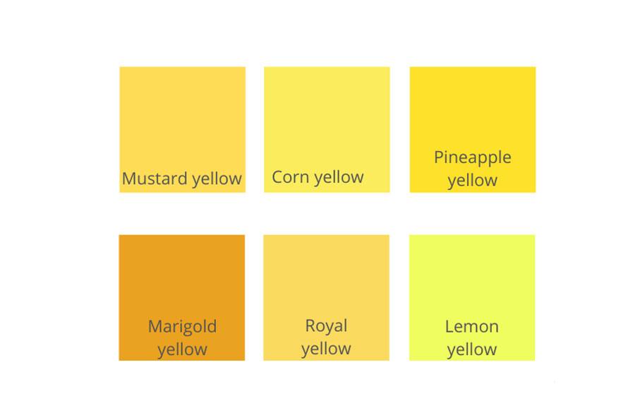 تناژهای رنگ زرد